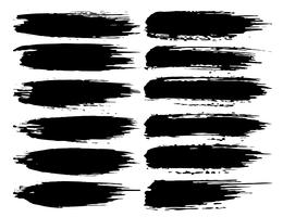 Série de coups de pinceau, coups de pinceau grunge d'encre noire. Illustration vectorielle