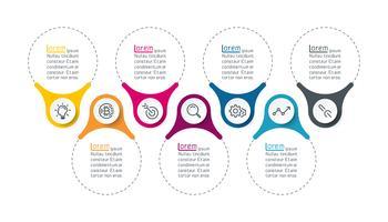 Sept barres infographiques verticales.