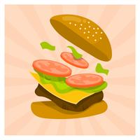Flat Burger Splash Summer Food Vector Illustration