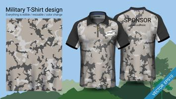 Military polo t-shirt design, with camouflage print clothes.