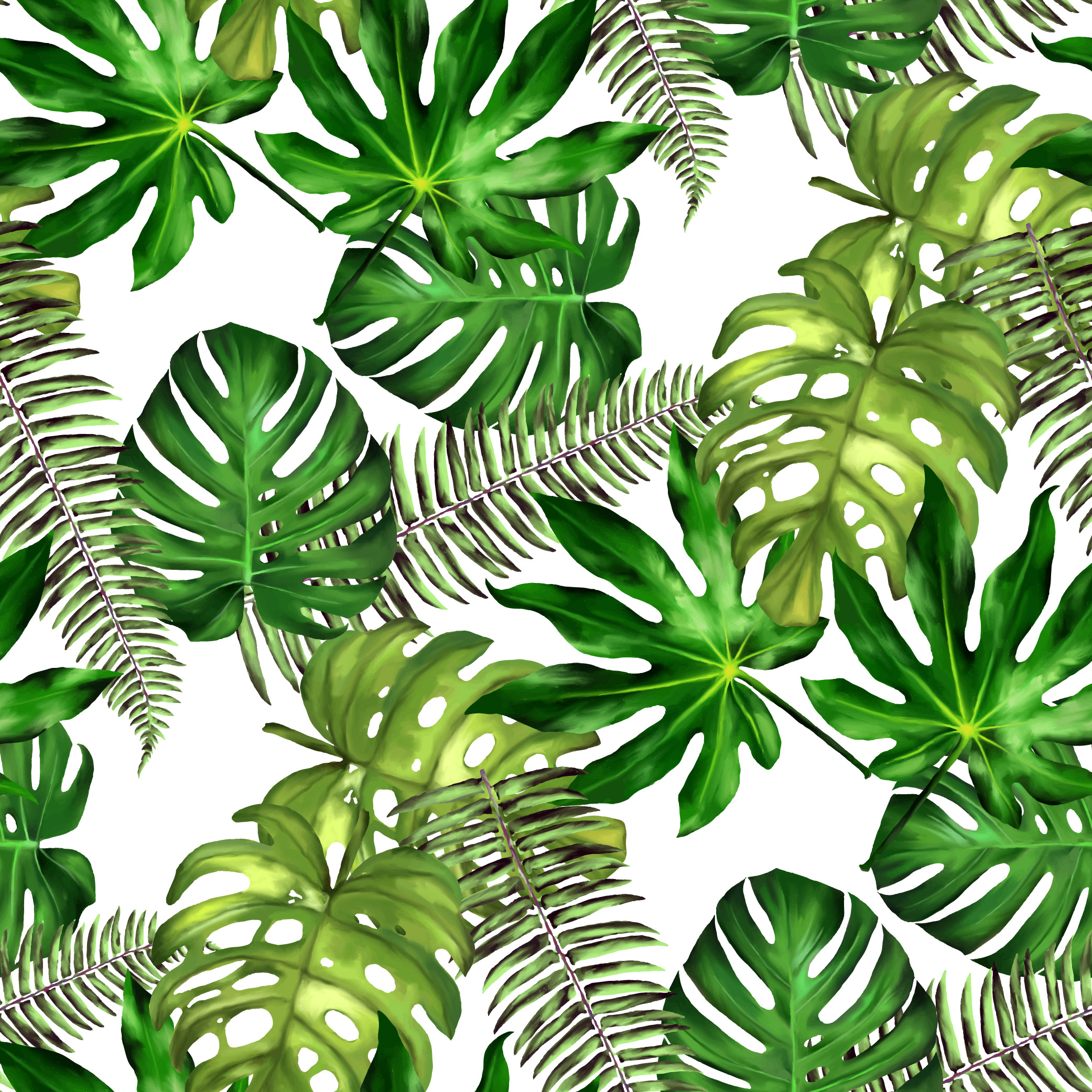 Tropical Leaves Seamless Floral Background Isolated On White Vector Illustration Download Free Vectors Clipart Graphics Vector Art Tropics jungle tropical rainforest, green coconut leaves, watercolor leaves, leaf, plant stem png. https www vecteezy com vector art 556341 tropical leaves seamless floral background isolated on white vector illustration