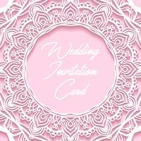 Tarjeta de invitación de boda papel cortado diseño