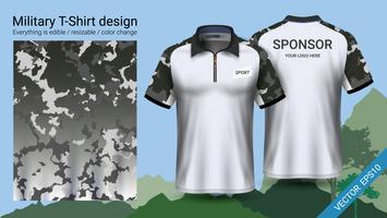 T-shirt polo militaire avec des vêtements à imprimé camouflage.