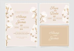 Vector Cotton Wedding Invitation