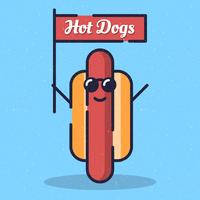 Hot Dog Character With Sunglasses And Smile Illustration