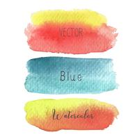 Set of colorful brush strokes watercolor on white baclground, Vector illustration.