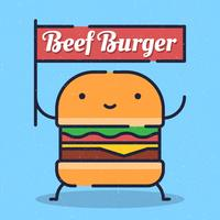 Burger Character Icon Illustration vectorielle