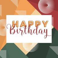 Flat Modern Geometric Happy Birthday Typography Vector Illustration
