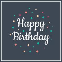 Flat Simple Happy Birthday Typography Vector Illustration