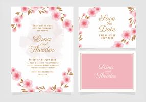 Vector Floral Wedding Invitation Template