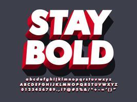 3d grassetto forte effetto font rosso