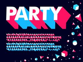 Modern 3D Geometric Party Font