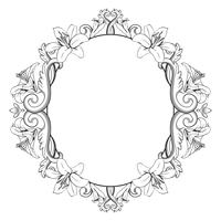 Ornamental vintage frame with lilies. Vector illustration in black and white colors