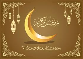 Ramadan Kareem design di saluto islamico con lanterna e calligrafia.