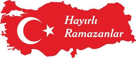 Happy ramadan Turks spreek: Hayirli ramazanlar. Turkije kaart vectorillustratie.