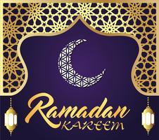 ramadan kareem islamitische groet ontwerp met lantaarn en kalligrafie.