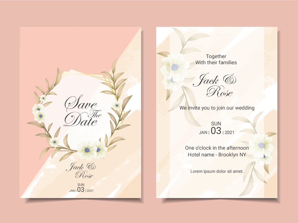 Elegant Wedding Invitation Template Cards with Beautiful Floral ...
