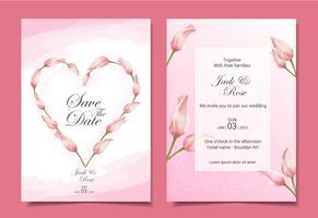 Moderne tulpen bruiloft uitnodiging kaarten sjabloonontwerp. Roze kleurenthema met mooie hand-drawn waterverfbloemen