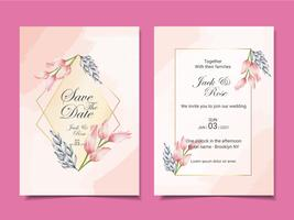 Luxury Wedding Invitation Cards Template of Watercolor Tulips and Leaves with Golden Frame and Beautiful Abstract Background