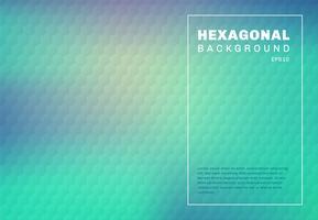 Abstrakte grüne Minze und blaue Türkissteigung verwischten Hintergrund mit Hexagon prägten Musterbeschaffenheit.