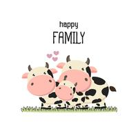 Cute cow Family Father Mother and baby.