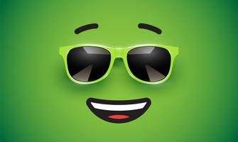 High detiled colorful emoticon with sunglasses, vector illustration