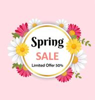 Spring sale background with beautiful flower and round frame. 3D vector  illustration concept.