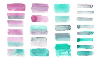 Pastel watercolor set isolated on white background