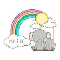 Columpio del elefante y del bebé en un arco iris.