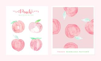 Set of Peach watercolor hand painted and Peach watercolor pattern seamless.