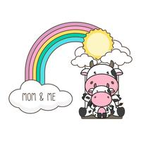 Oscilación de la vaca y del bebé en un arco iris.