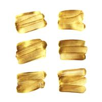 Mão de pincel de ouro pintou conjunto isolado no fundo branco