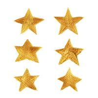 Gold star hand painted collection isolated on white background