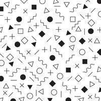 Black and white geometric elements memphis style pattern the era 80's - 90's years background. vector