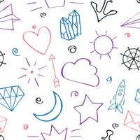Seamless Pattern with Doodles vector