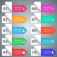 Conception infographique. Liste de 10 articles.