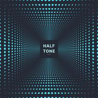 Abstract blue color halftone room perspective dark background and texture. vector
