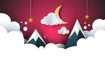 cartoon paper landscape. Mountain, cloud, moon, star.