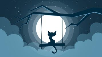 Cat illustration. Cartoon night landscape.