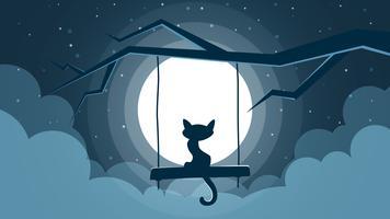 Kattillustration. Tecknat nattlandskap.