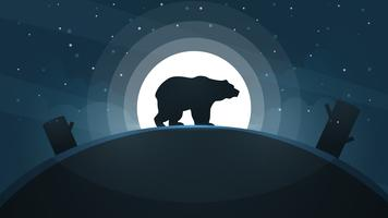 Night landscape. Bear, moon illustration.