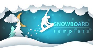Paesaggio di carta cartone animato di snowboard. Abete, luna, inverno, fiocchi.