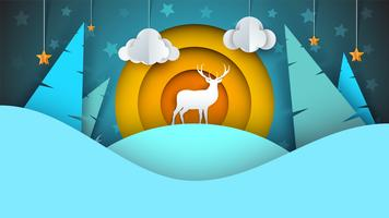 Deer illustration. Cartoon winter landscape.