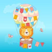 Cartel de postal de un lindo leon en un globo con banderas en estilo de dibujos animados. Dibujo a mano.