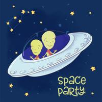 Vykortaffisch kosmiska vänner i en flygande tallrik. Handritning. Vektor