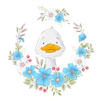 Postcard poster of a cute duckling in a wreath of flowers. Hand drawing. Vector
