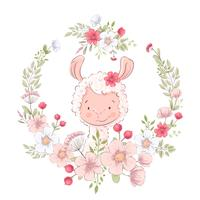 Postcard poster cute llama in a wreath of flowers. Hand drawing. Vector