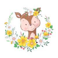Vykortaffisch söt liten hjort i en krans av blommor. Handritning. Vektor