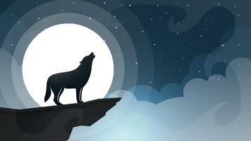 Paisaje de dibujos animados de noche. Lobo, luna, ilustración nube.