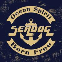 Sello vintage de espíritu del océano